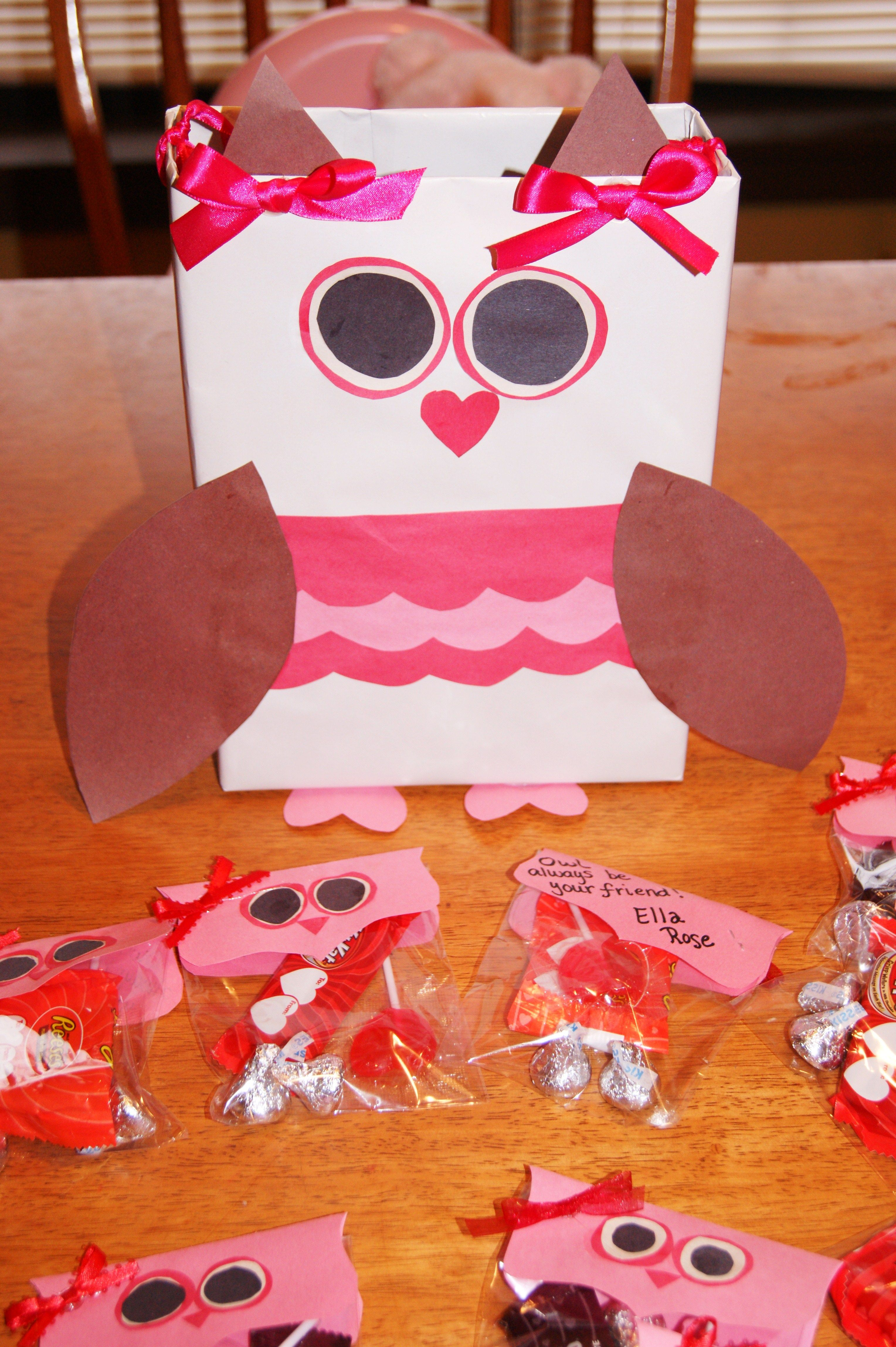 Owl Valentine Holder Made From A Cereal Box And Owl Valentines
