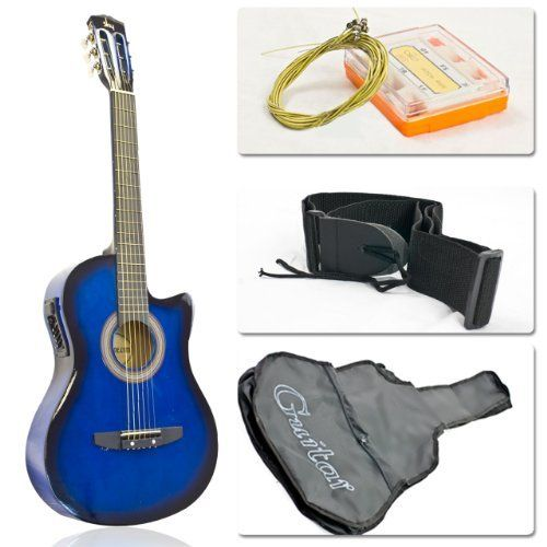 Blue Electric Acoustic Guitar Cutaway Style W Accessories By Sky Enterprise Usa 34 95 New Blue Electric Acoustic Electric Guitar Guitar Tuners Guitar Case