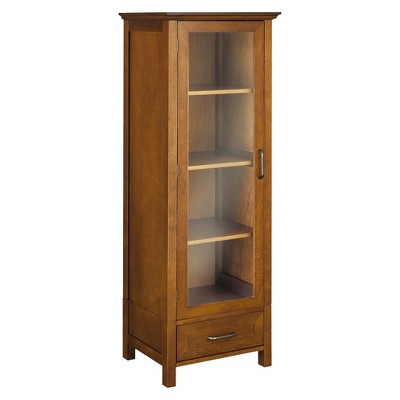Elegant Home Fashions Avery Linen Cabinet Oil Oak Linen Cabinet