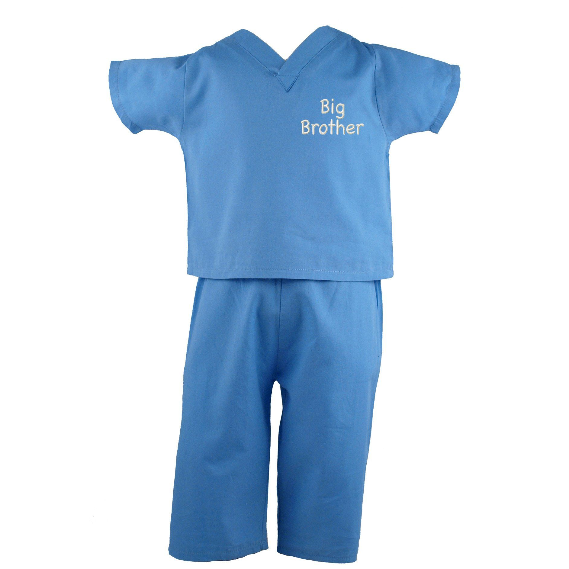 Blue Kids Scrubs Big Brother Embroidery