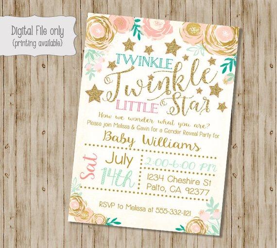 Twinkle Twinkle Little Star Gender Reveal Invitation Gender Reveal Invitation Star Baby Shower Invitations Paris Baby Shower Invitations Birthday Invitations
