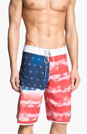 Rad American Flag Bathing Suits Summer Beach Menswear Festive American Flag Bathing Suit Bathing Suits Board Shorts