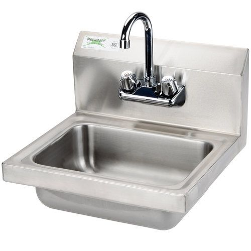Regency 17 X 15 Wall Mounted Hand Sink With Gooseneck Faucet Sink Utility Sink Wall Mounted Sink