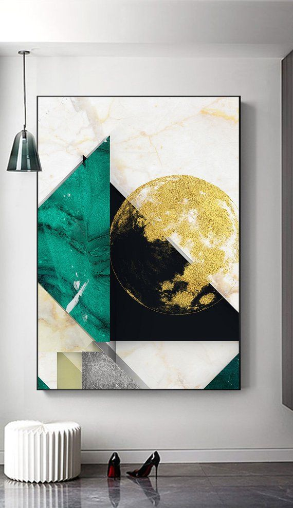 Green Black Gold Foil Abstract Printable artwork, simple home decor, minimalist Geometric painting, Nordic style Emerald print set