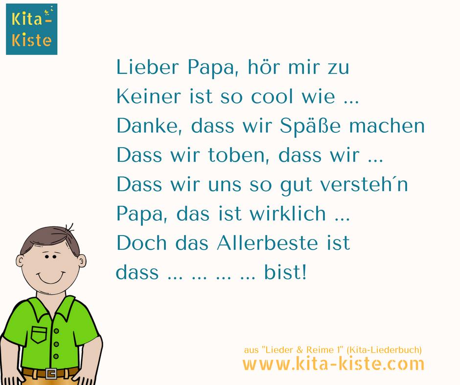 Vatertag Gedicht Spruch - aus Lieder & Reime 1, dem Kita