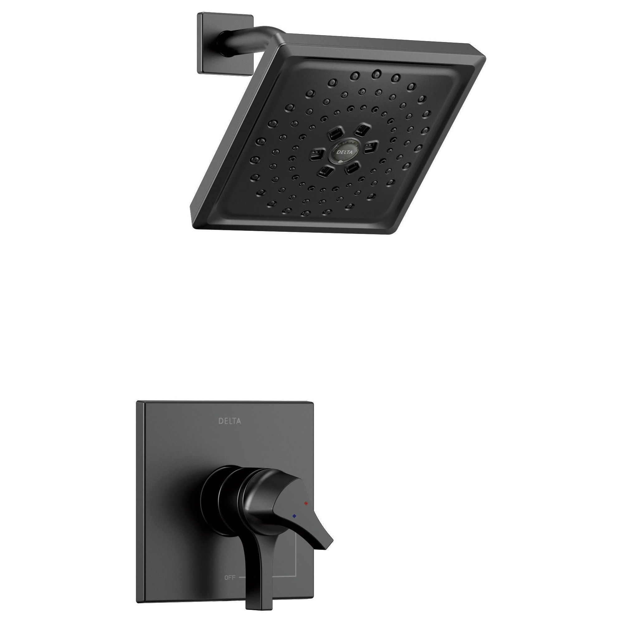 Delta Faucet T17274 Zura Shower Only Trim Package With 1 75 Gpm Multi Function Shower Head With Monitor And Mul Matte Black Delta Faucets Shower Faucet Shower Heads