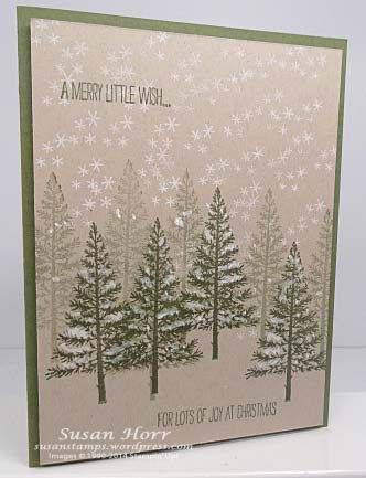 Stampin' Up! ... handmade Christmas card featuring a forest of trees from Festival Of Trees ... luv the depth with double stamping ... like the snow covered branches done with gel pin ... kraft and green ... luv it!