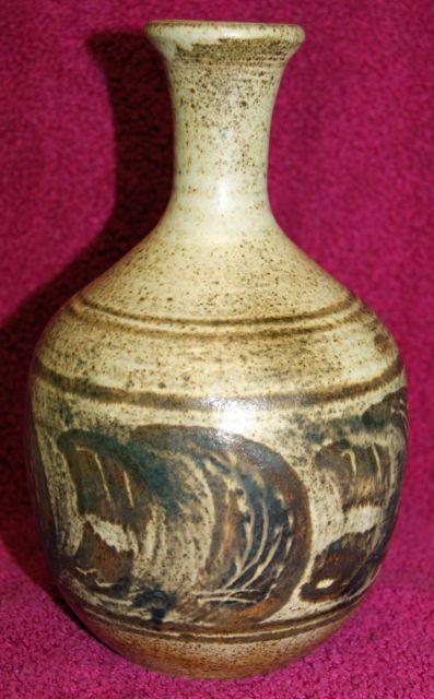 Vintage Signed Studio Pottery Bottle Vase – Mary Langford Old Haglands Pottery