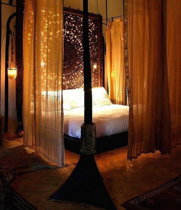 20 Romantic Bedroom Ideas: 20+ Romantic Canopy Beds With Lights , Cozy Bed Area Ideas