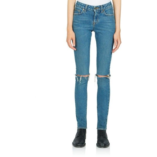 Saint Laurent Ripped Knee Skinny Jeans ($935) ❤ liked on Polyvore featuring jeans, apparel & accessories, light blue, distressed skinny jeans, light blue ripped skinny jeans, white skinny jeans, white distressed jeans and white jeans