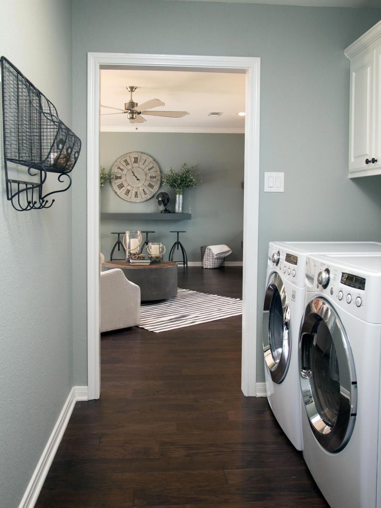My Laundry Room After Pic Laundry Room Painting Cabinets Accent Wallpaper