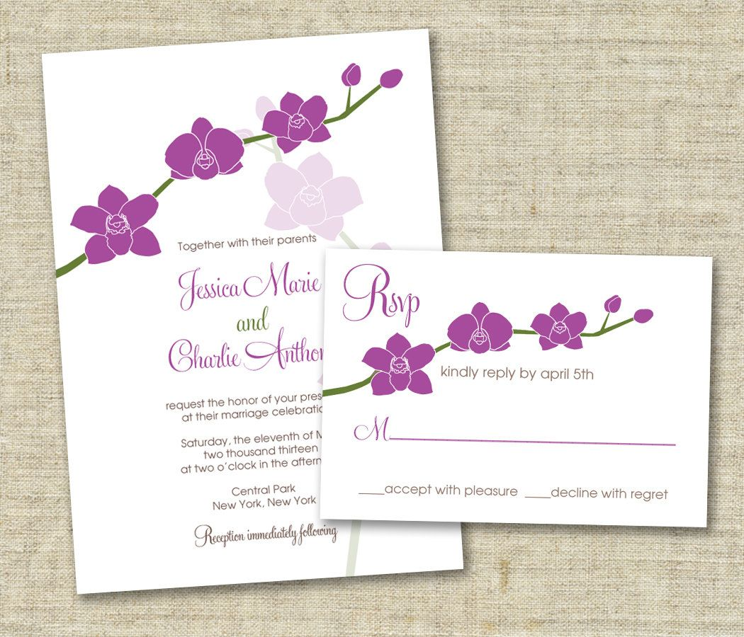 SAMPLE SET Orchids Wedding Invitation. $3.00, via Etsy. | Keri and ...