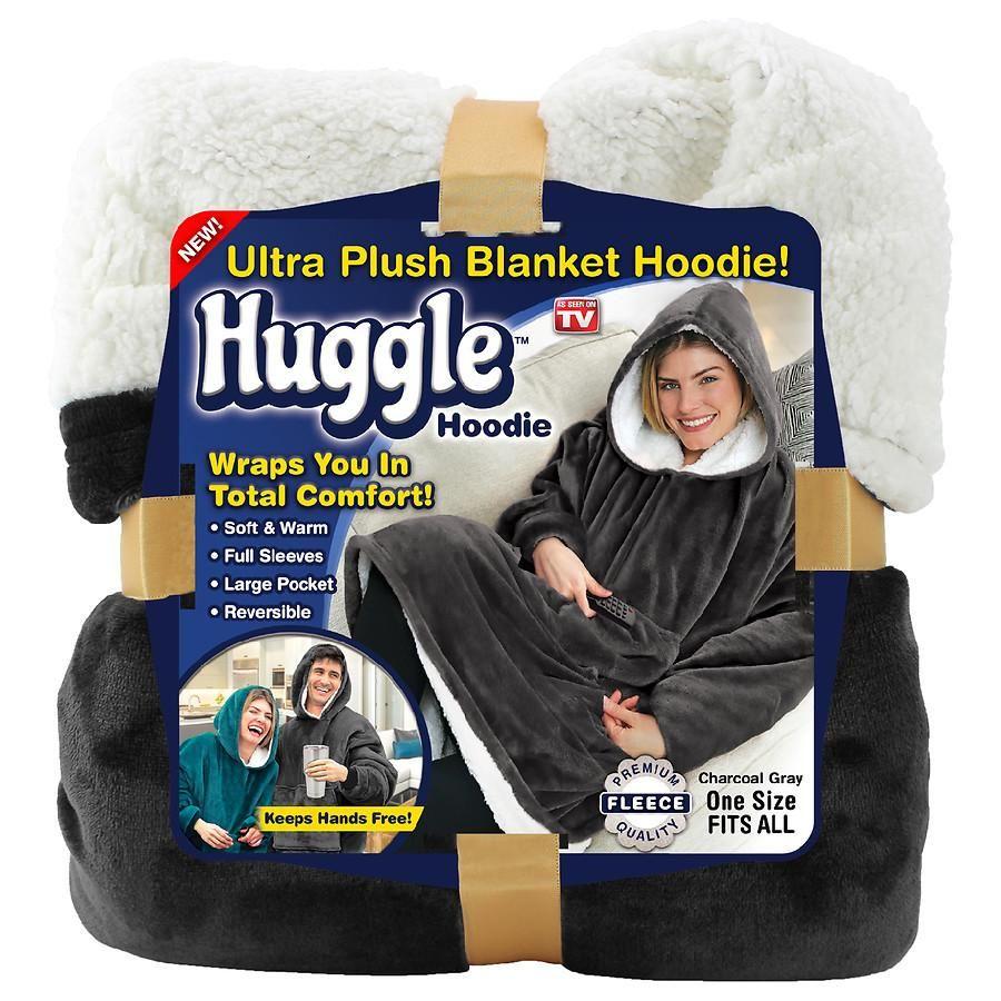 Huggle Hoodie Blanket Hoodie One Size Fits Most Charcoal Gray Walgreens Warm Outfits Hoodie Blanket Hoodies