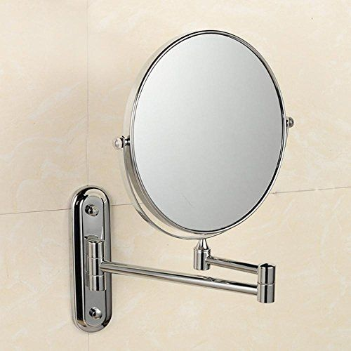 Mafyu All Copper Bathroom Cosmetic Mirror Folding Telescopic Beauty Wall Mounted Double Sided Makeup Ordinary 3 Times Magnifying