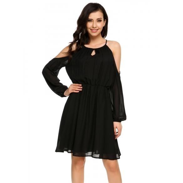 Lantern Sleeve Cold Shoulder Split Back Solid Dress #silvesteroutfitdamen