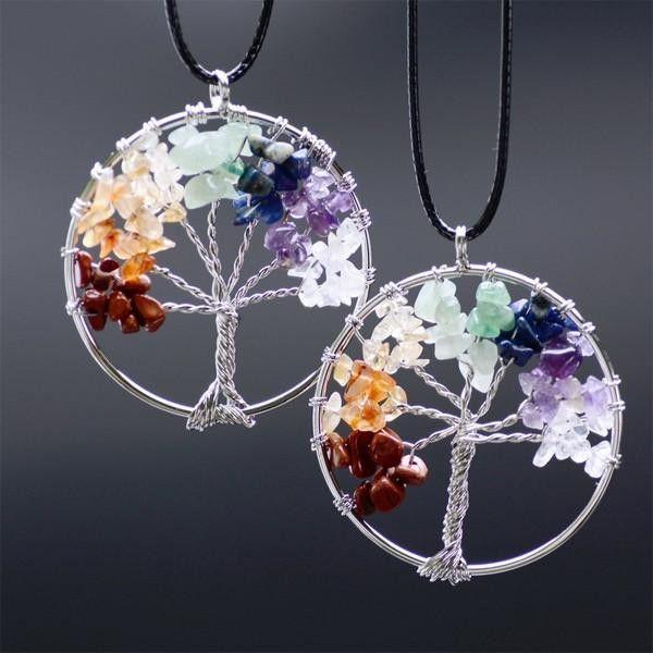 [Sponsored]Merdia Tree Of Life Pendant Gemstone Chakra Jewelry for Women X3iHbge