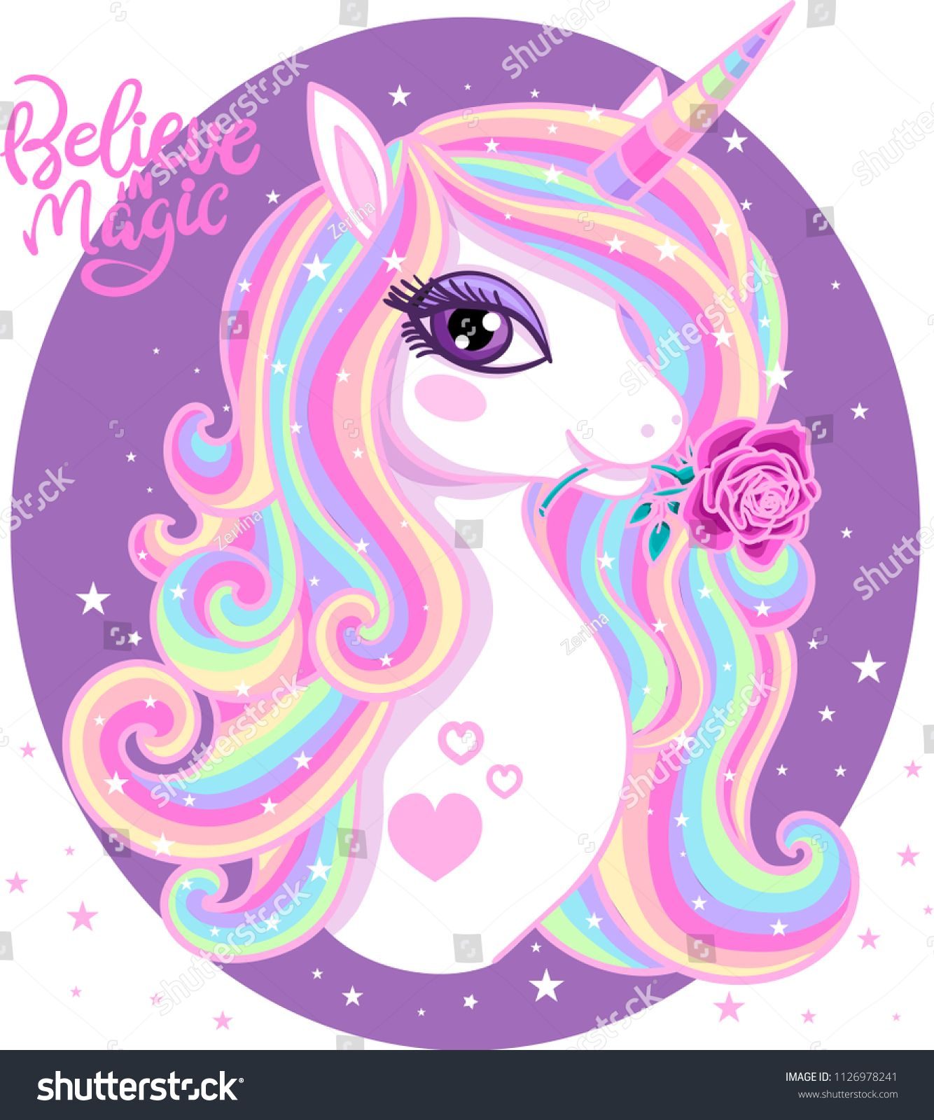 Believe In Magic A Beautiful Rainbow Unicorn With A Rose In The