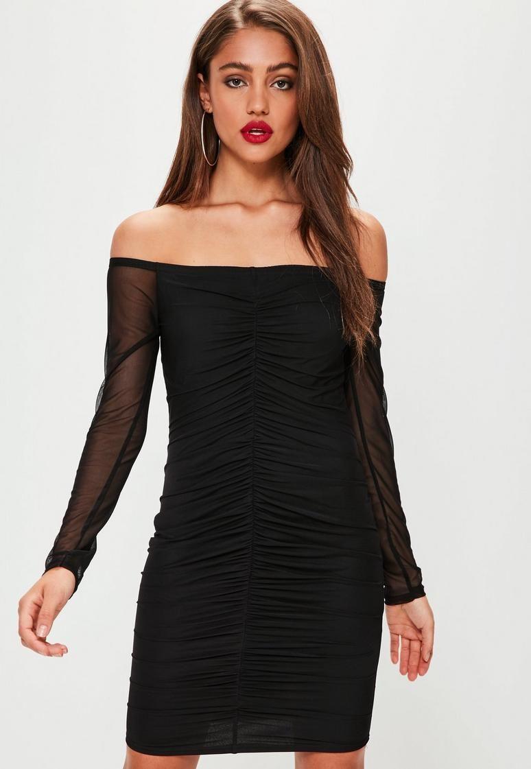 Black bardot ruched mesh long sleeve dress dresses long