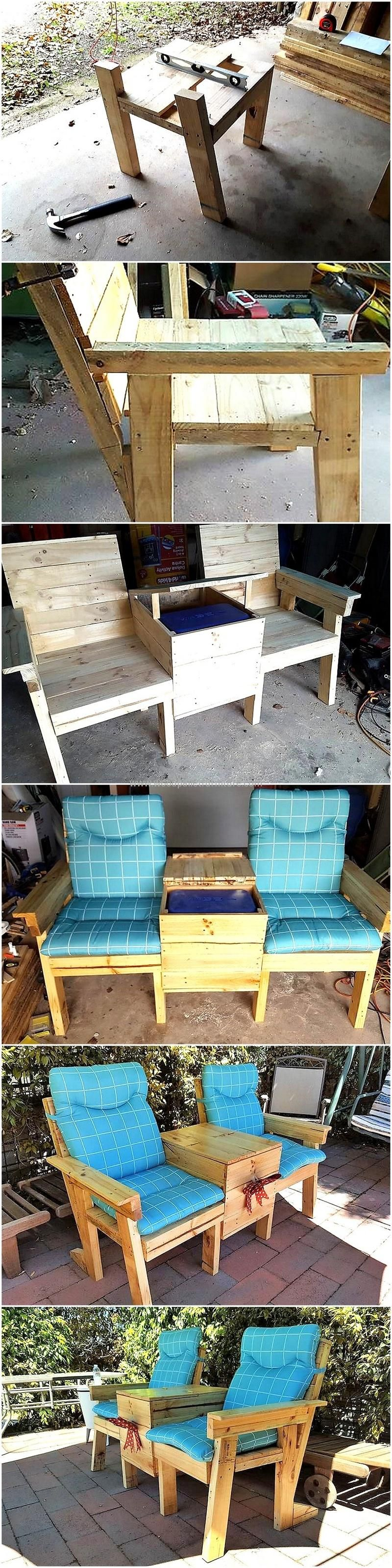 diy patio double chair with storage | Madera | Pinterest | Palets y ...