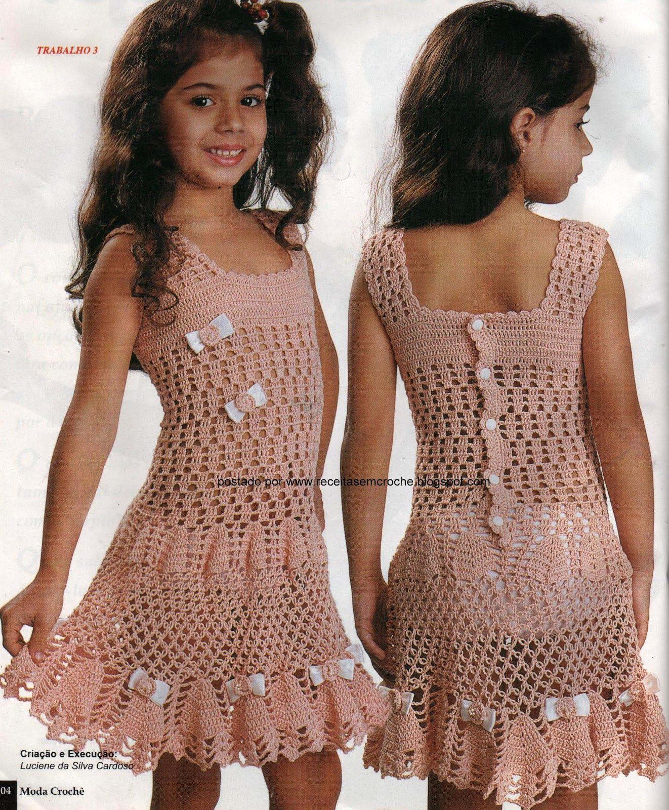 f818feb77d9f Vestido em crochê para menina, tamanho 4 anos, receita abaixo | Baba ...