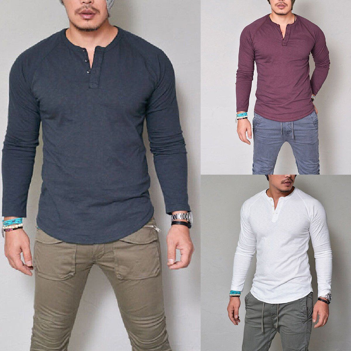 eb161654 Fashion Men's Slim Fit V Neck Long Sleeve Muscle Tee T-Shirt Casual Tops  Blouse