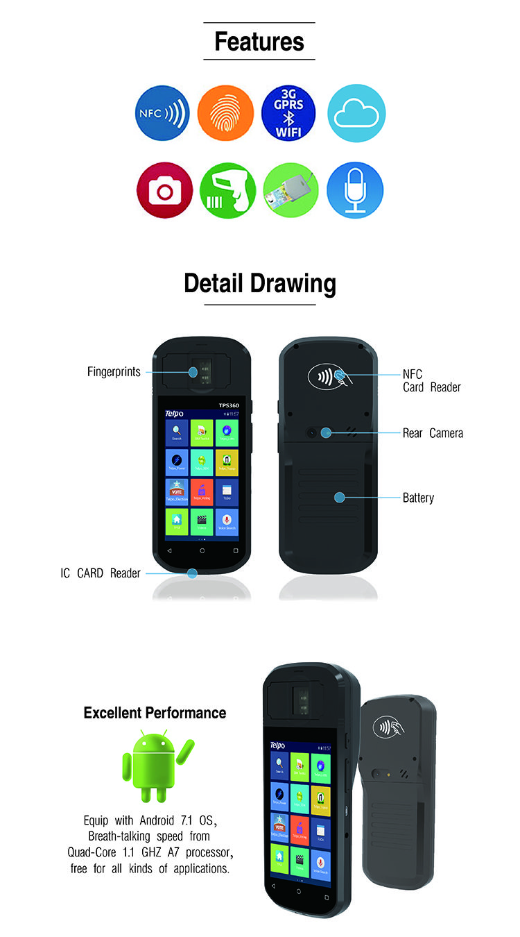 Android Biometric Fingerprint Device TPS360, Made from Telpo