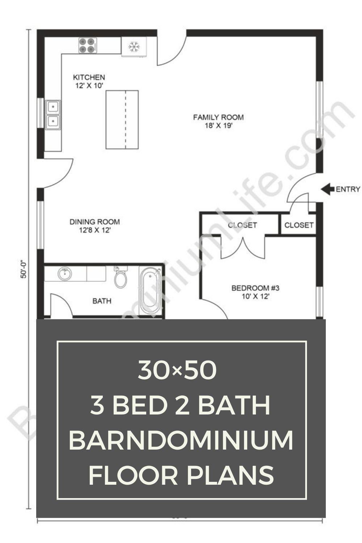 30 50 3 Bed 2 Bath Barndominium Floor Plans Barndominium Floor Plans Floor Plans Simple Floor Plans