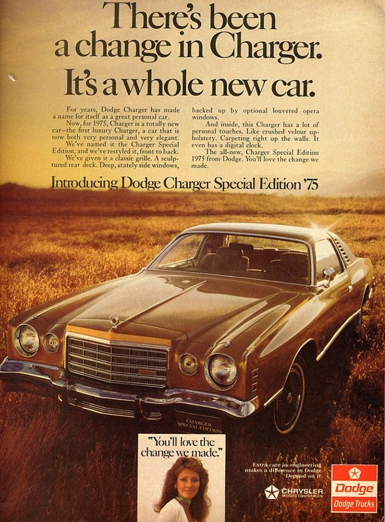 1975 Dodge Dodge charger, Car ads, Charger car