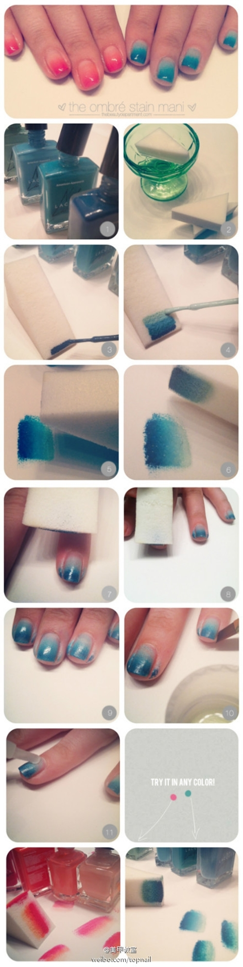 ombre nails! pretty cute!!  looks simple!