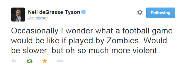 Zombie football? I'd watch that, with shotgun in hand...