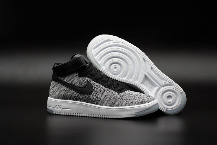 Nike Air Force 1 Ultra flyknit Mid Men's Shoes Grey Black White