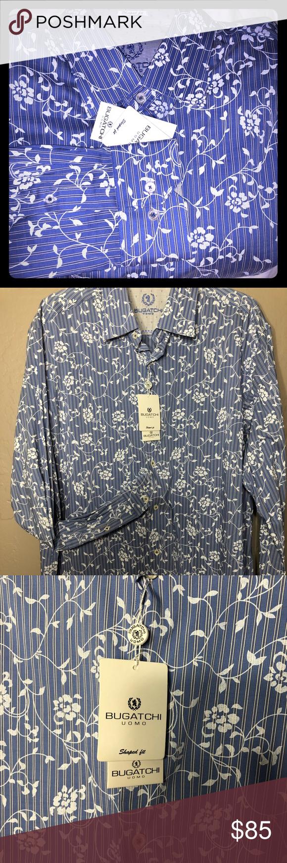cc7b04c3 BUGATCHI MEN'S CASUAL BUTTON-FRONT SHIRT Brand new classic Blue Bugatchi  UOMO Shaped fit , Long sleeve 75% Cotton—25% polyester Size XL Bugatchi  Shirts ...