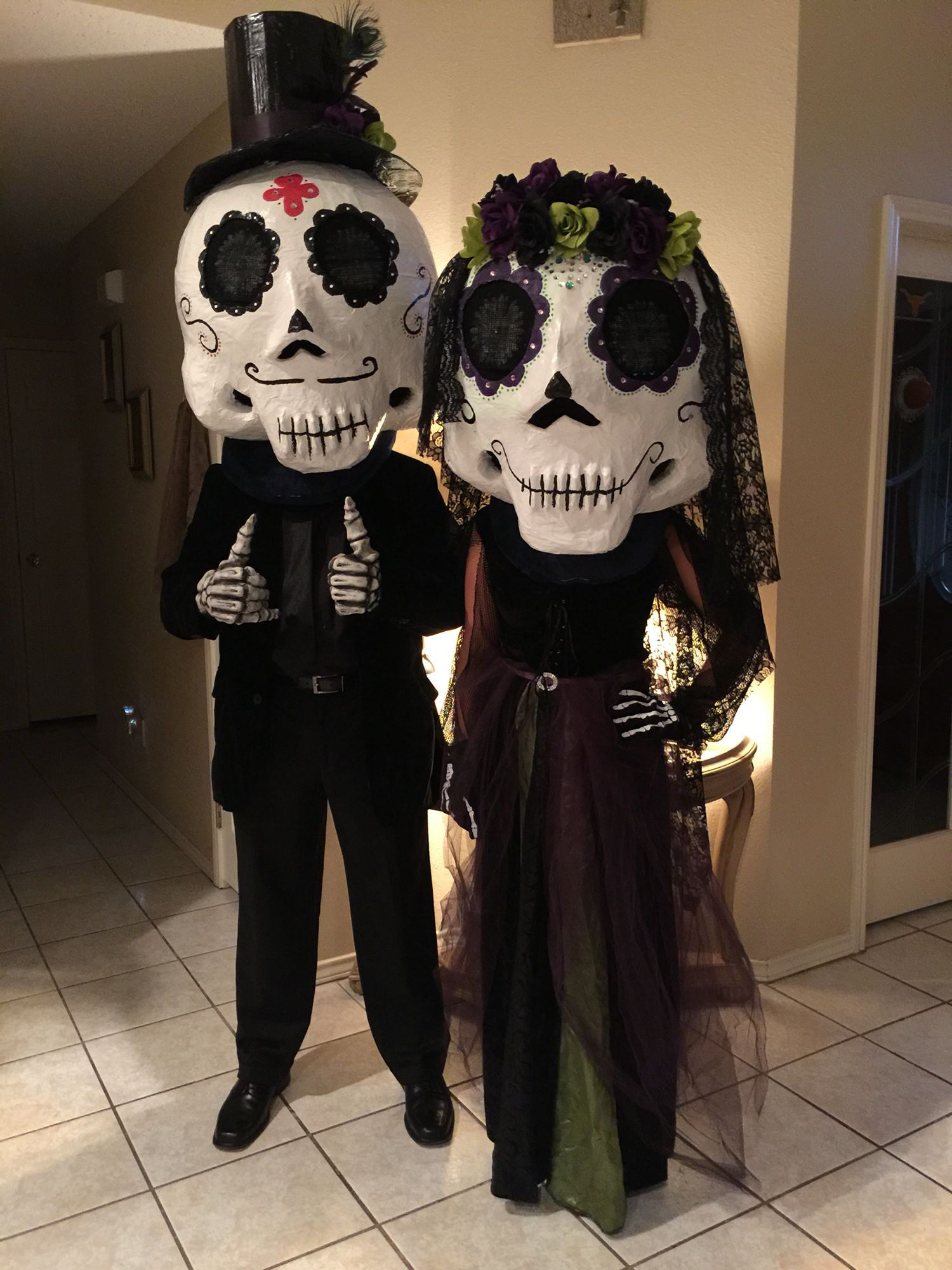 Day of dead couple... Paper mache mask... Day of the dead ...