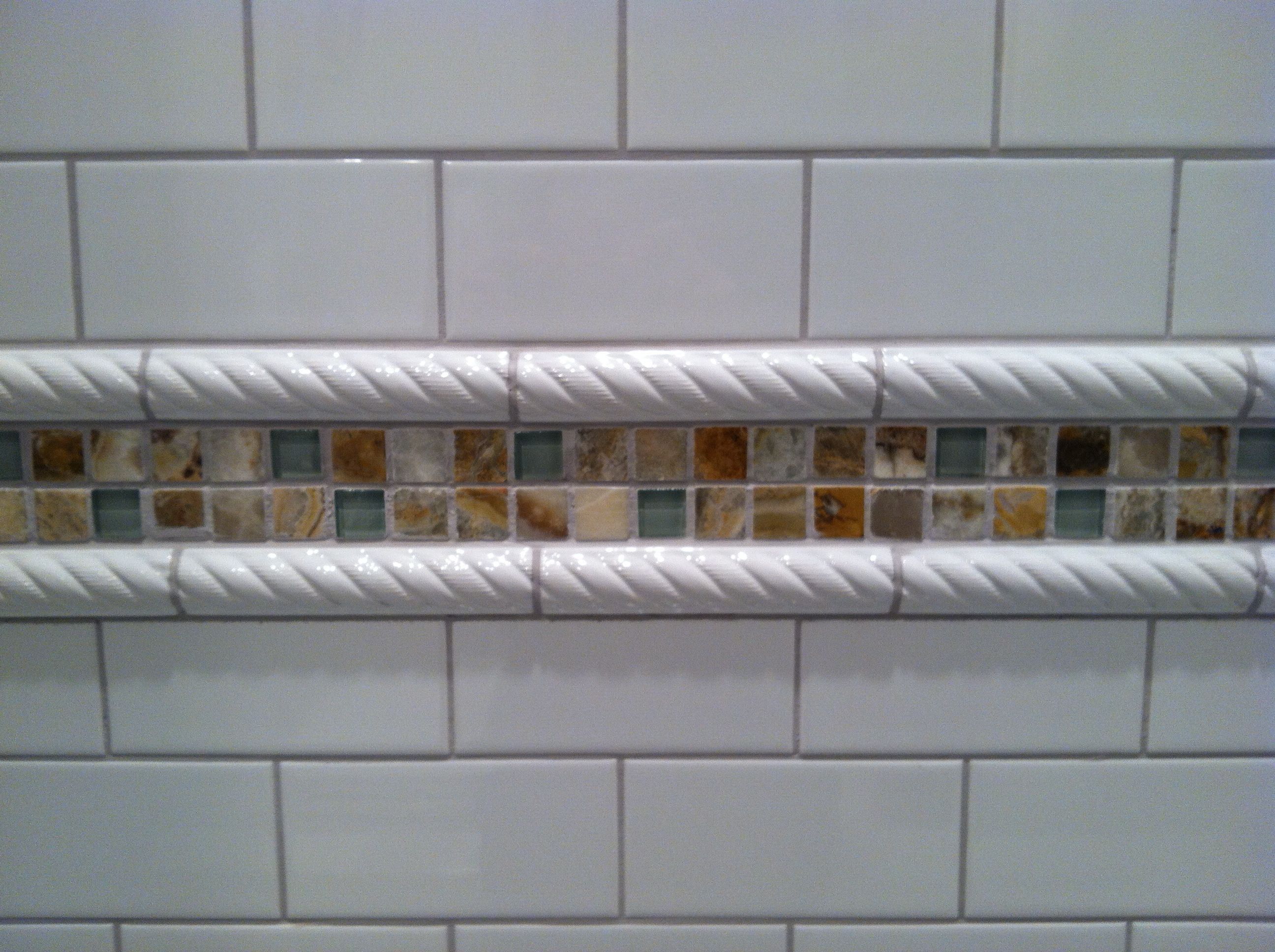 Subway tile white ceramic rope border and seafoam green glass subway tile white ceramic rope border and seafoam green glass and amber glass doublecrazyfo Images