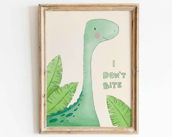 Set of 3 Dinosaur Nursery Prints, T-Rex Kids Room Wall Art, Dino Decor