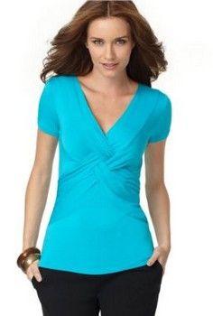 1af1e201905 Turquoise fashion v neck top