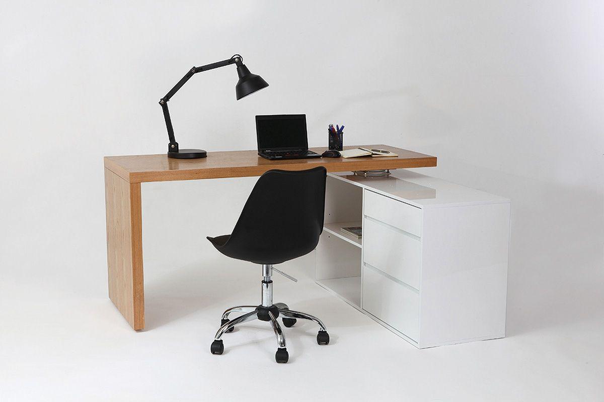 Bureau design modulable blanc brillant et frêne new max style