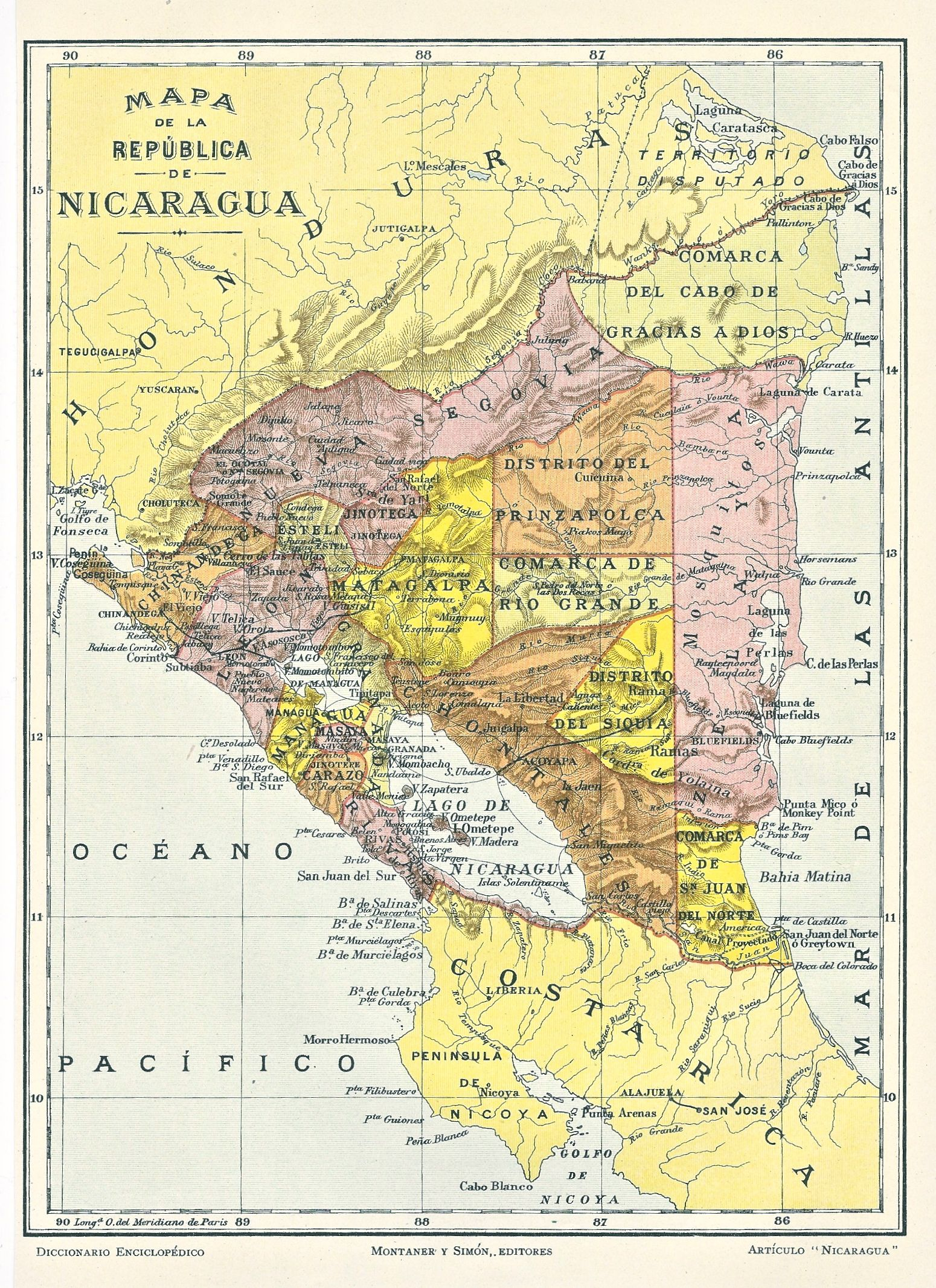 1914 Map of Nicaragua from the Diccionario Enciclopedico Hispano