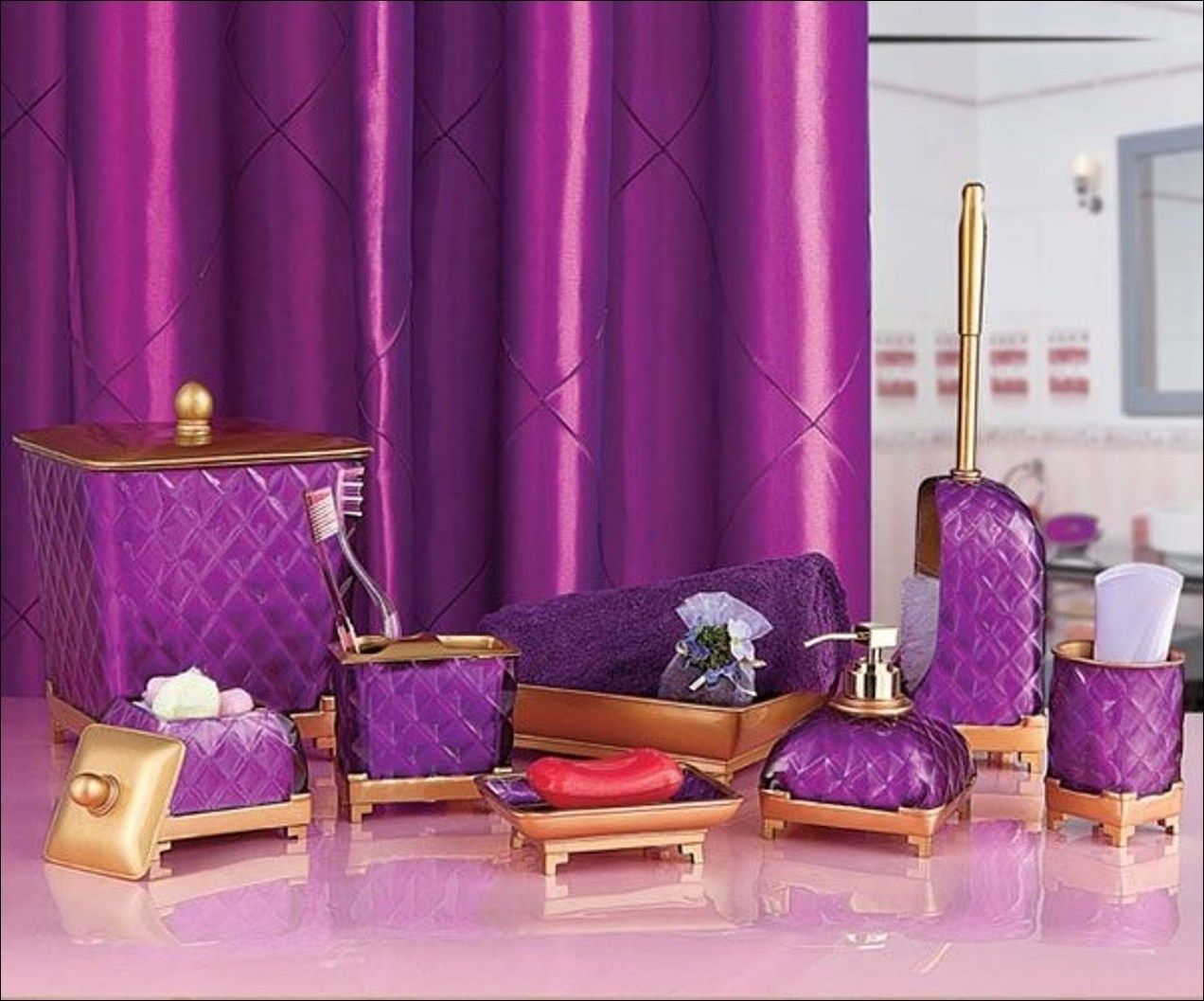 Black And Purple Bathroom Sets With Images Purple Bathroom