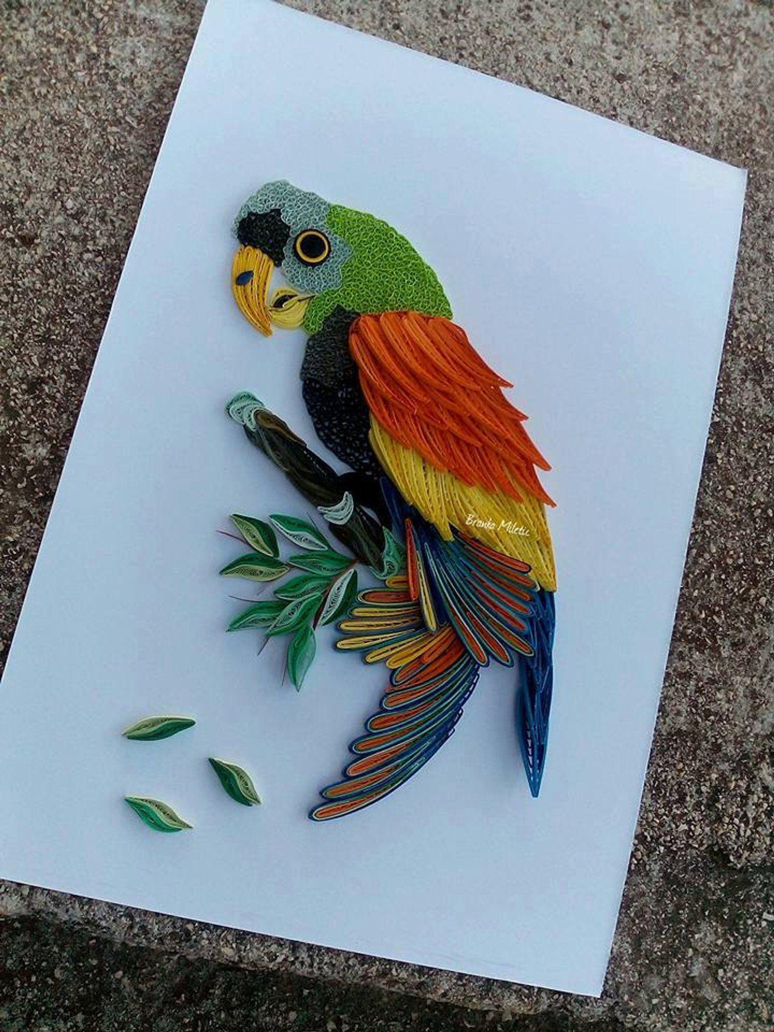 Amazon parrot wall art quilling art birds rainforest
