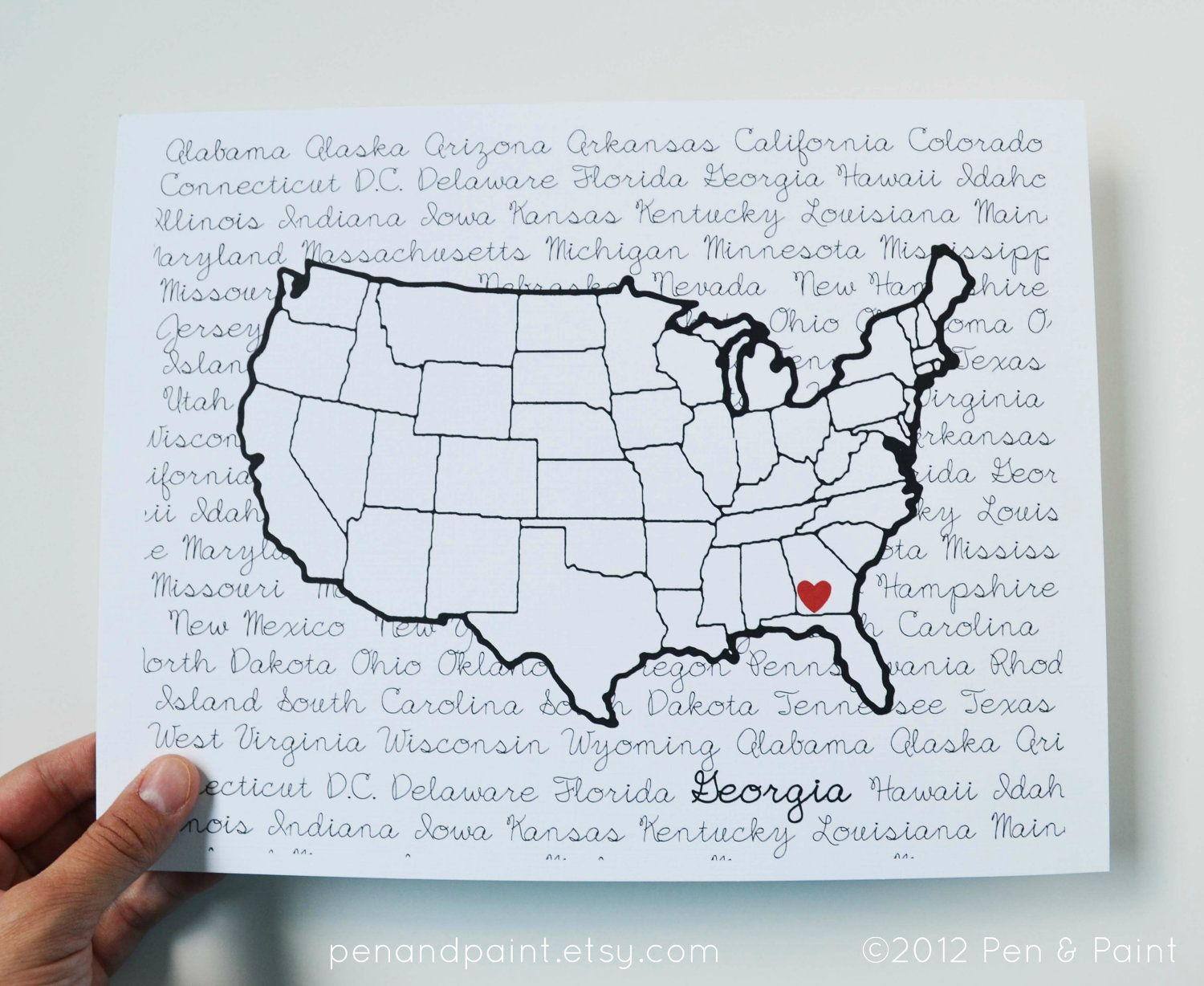 Custom, Personalized State Print, State Love, State Map, United ...