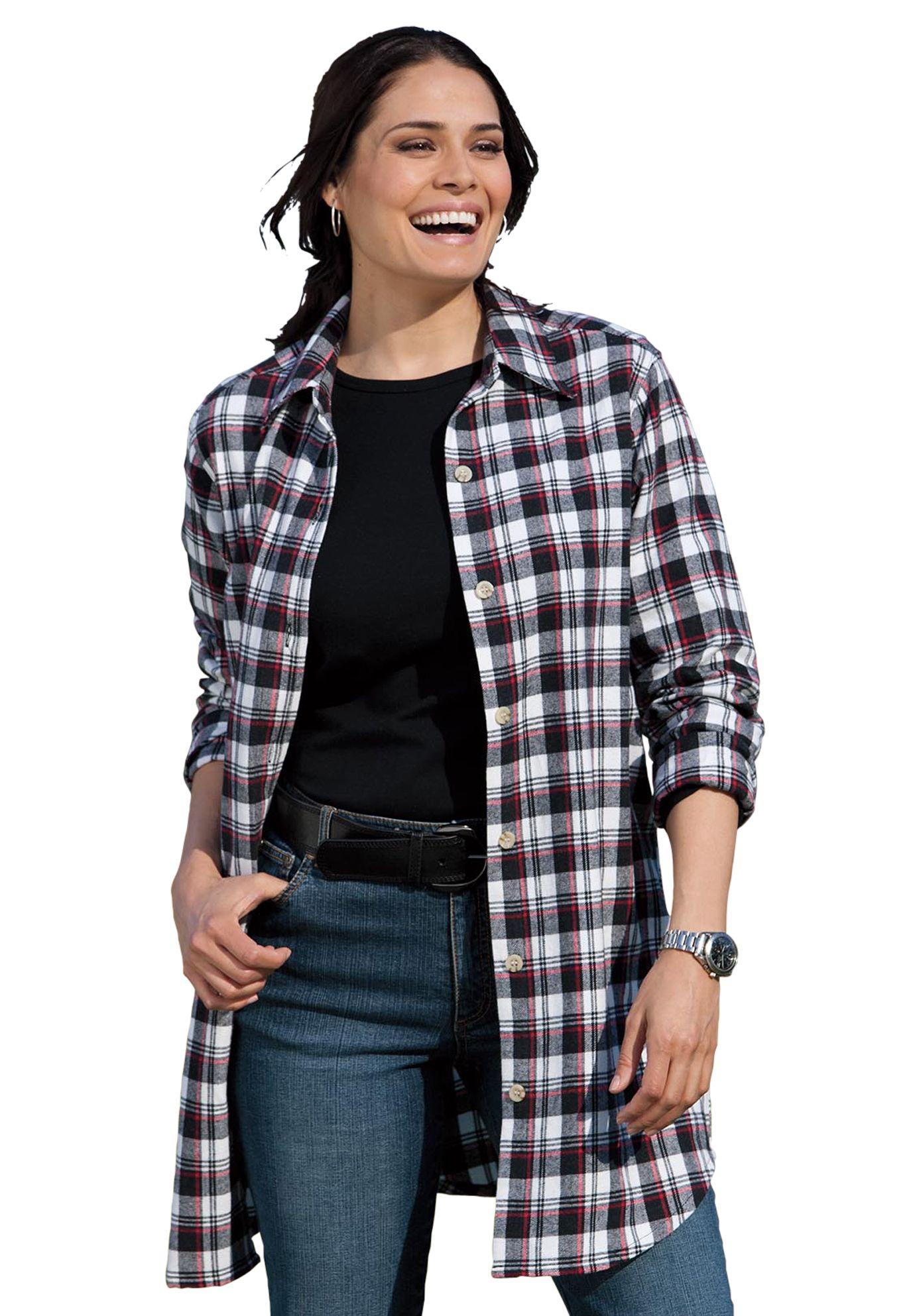 Plus size flannel shirt dress  Plus Size Shirt in plaid flannel  Plus Size Tops u Tees  Woman