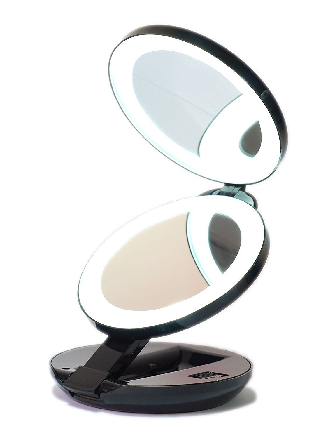 Led Lighted Travel Makeup Magnifying Mirror Magnifies 10x And 1x