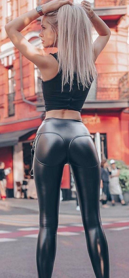 Slutty girl in leggings