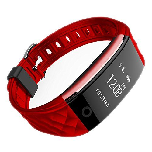 Scomas wrist S2 dynamic heart rate pedometer monitor sleep movement bluetooth remote control remind multifunction smart bracelet red *** To view further for this item, visit the image link.