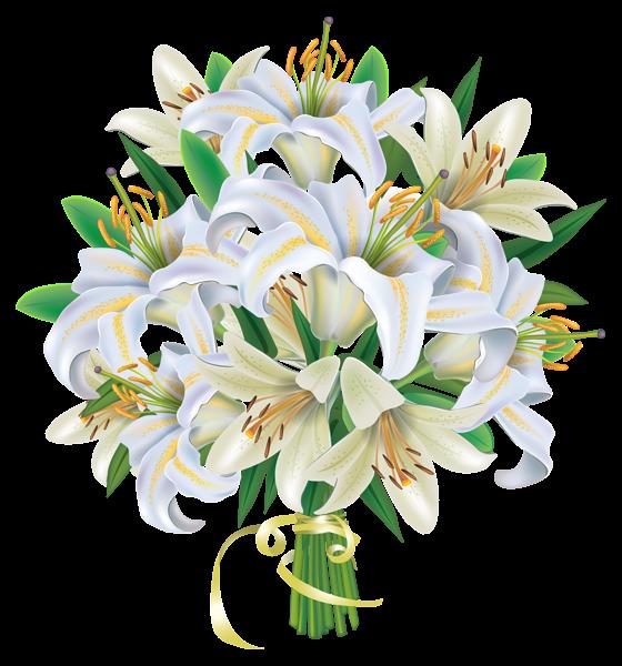 White Lilies Flowers Bouquet PNG Clipart Image | Flowers Clipart ...
