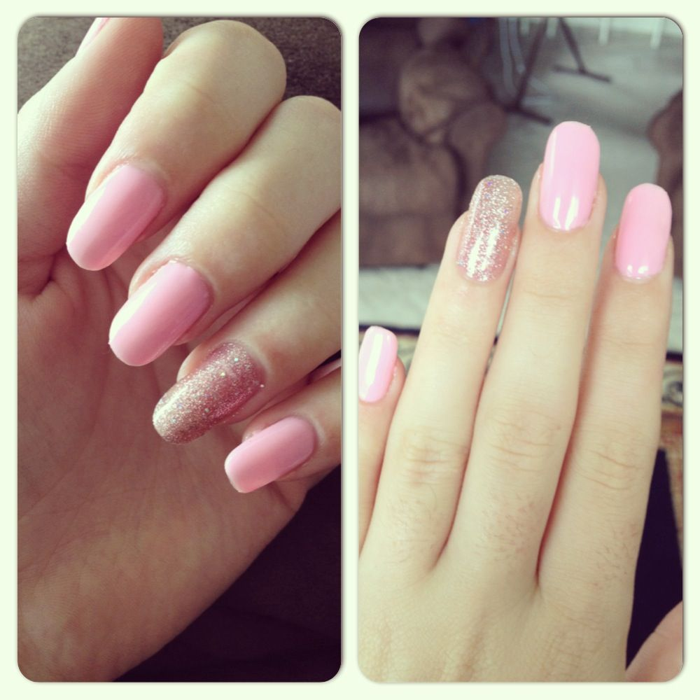 Pink and sparkly shellac nails | Nails too | Pinterest