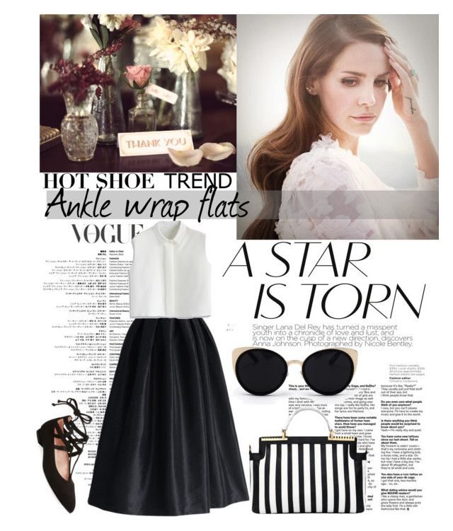 """""""Ankle Wrap Flat."""" by statisticam ❤ liked on Polyvore featuring La Diva, French Sole FS/NY, Una-Home, Chicwish, chic, lanadelrey, Diva and anklewrapflats"""