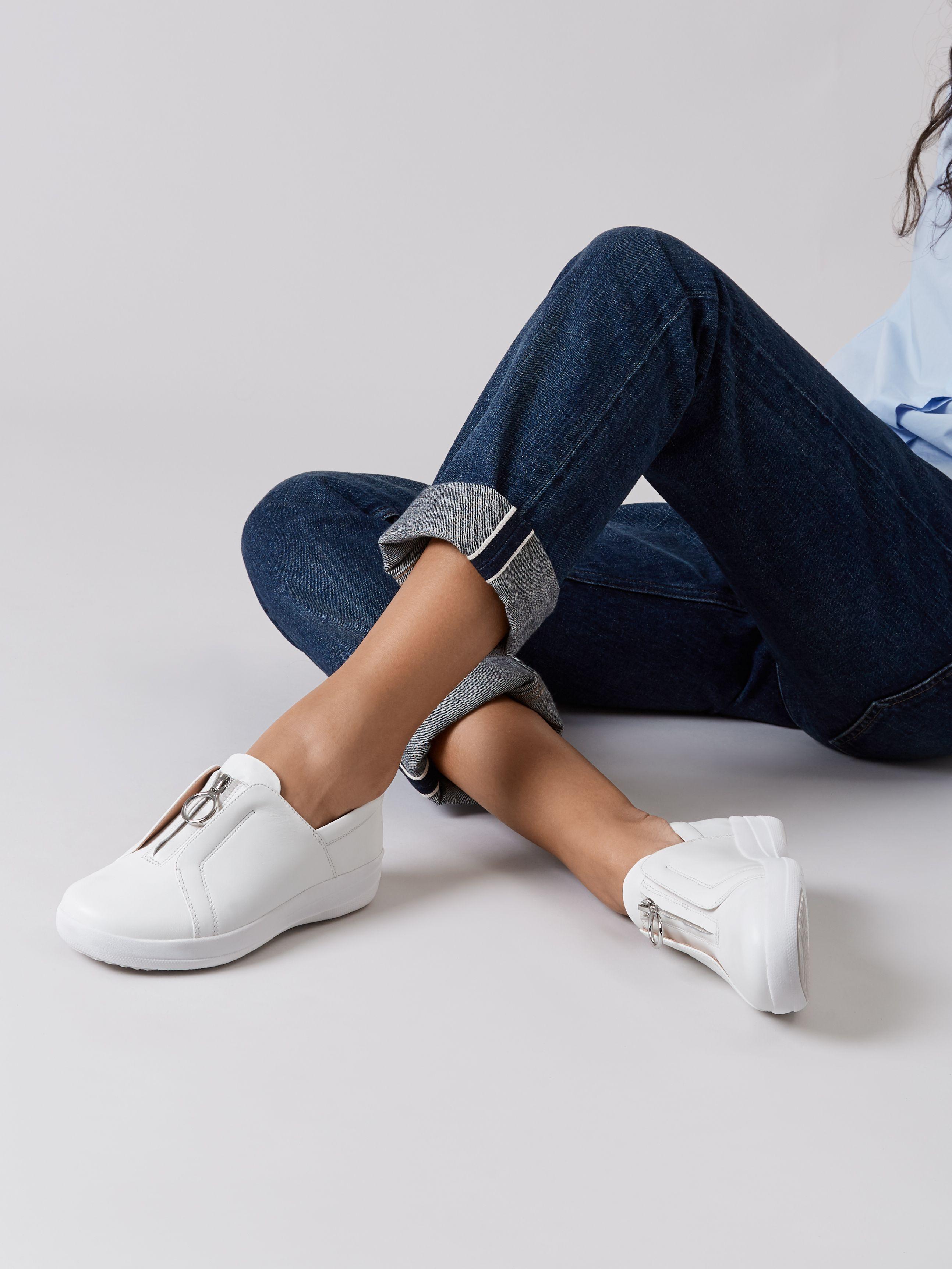 Zip Leather Sneakers