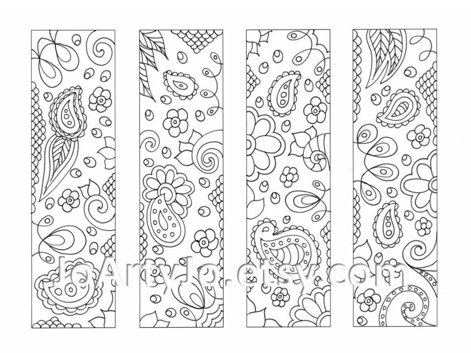 Printable Coloring Bookmarks Paisley Zentangle Inspired Sheet 16